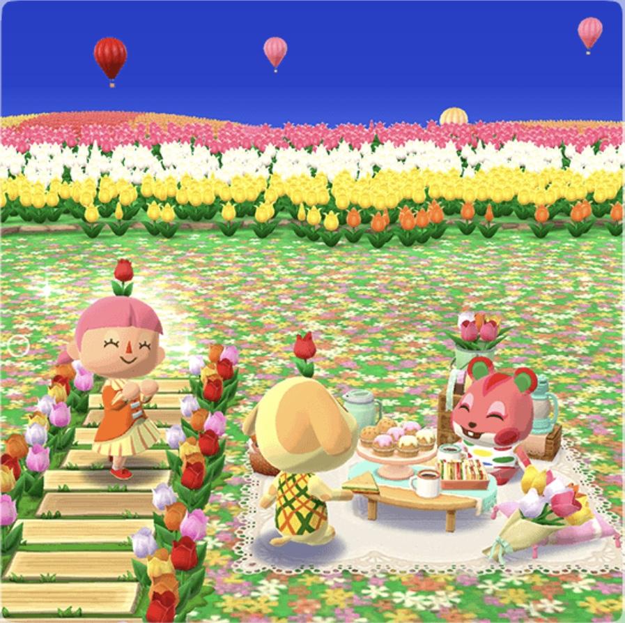 ポケ森 チューリップ畑でピクニック イメージ写真